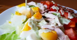 Cobb salad with blue cheese dressing - all low FODMAP