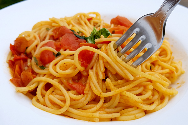 A simple gluten-free pasta with cherry tomato sauce.