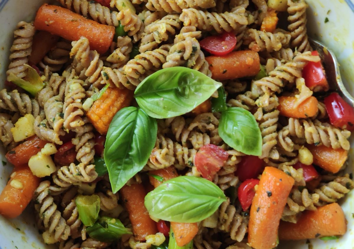 Veggie Pasta Salad with Turmeric & Maple Dressing