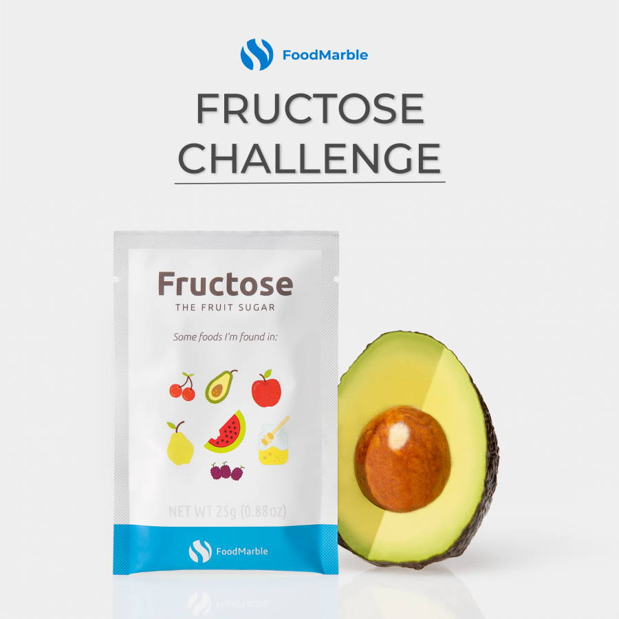 FoodMarble Fructose sachet with half avocado on white background