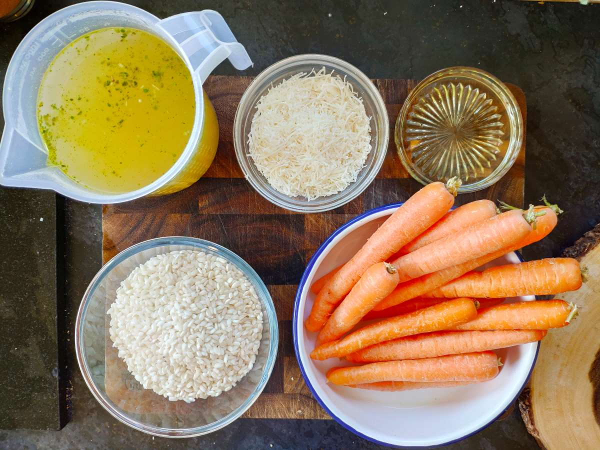 Ingredients for roasted carrot risotto