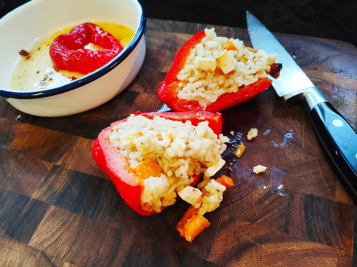 roasted stuffed red pepper in half