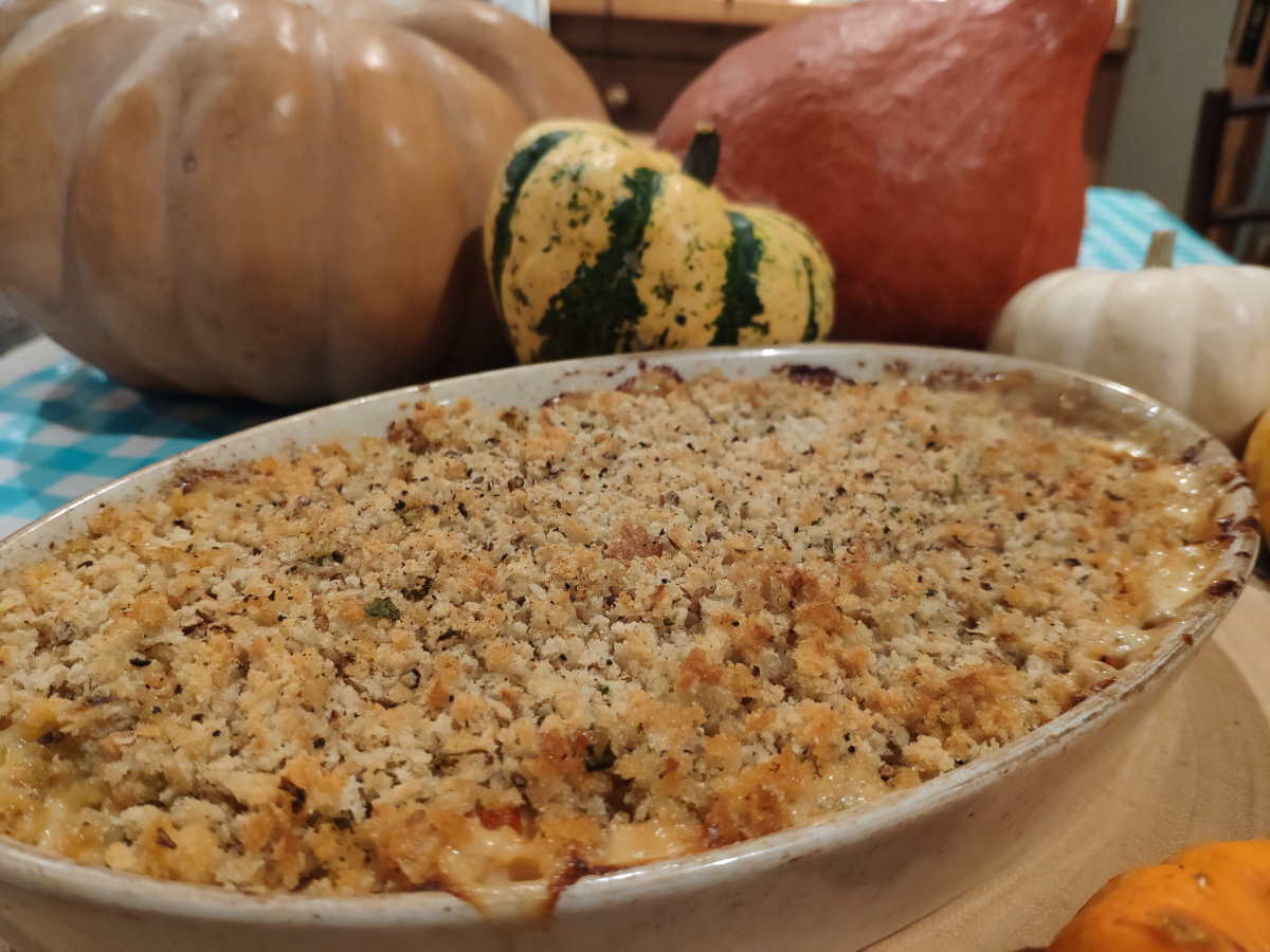 Green Bean Casserole Header with pumpkins in the background