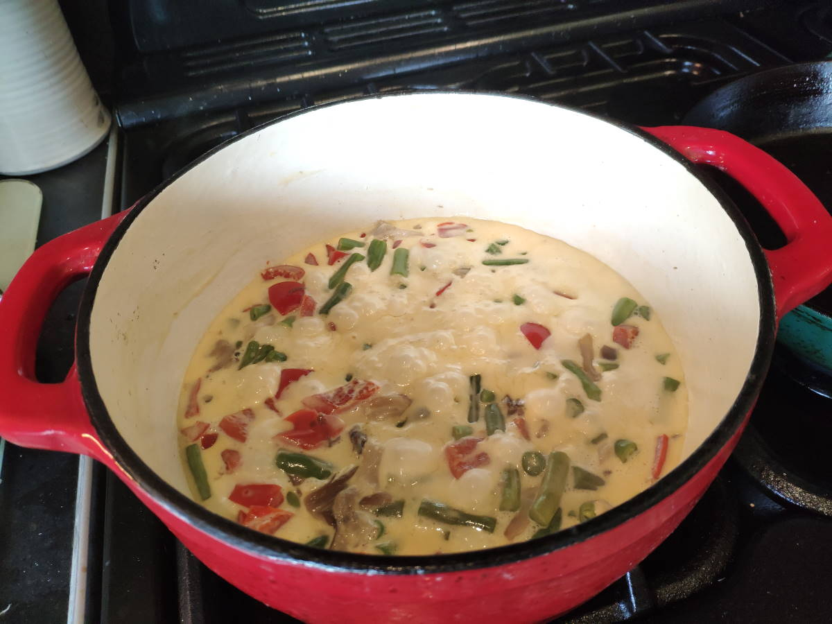 Vegetables and cream sauce bubbling away