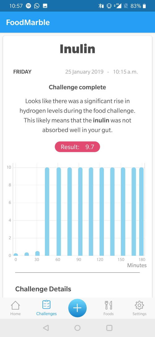 screenshot of FoodMarble AIRE app showing high score for inulin challenge