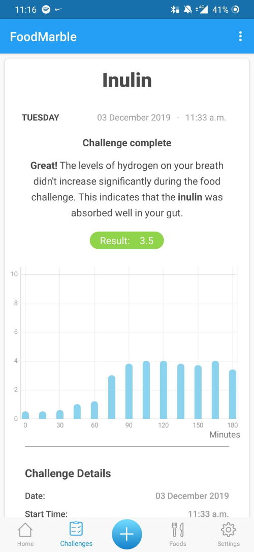 screenshot of FoodMarble AIRE app showing medium result for inulin challenge