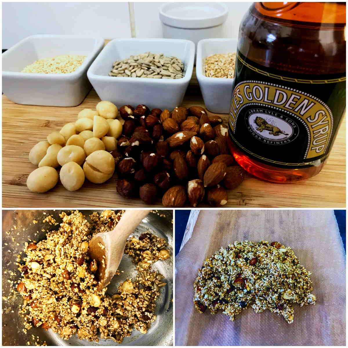 Caramel Nut Crunch Bars Ingredients Collage