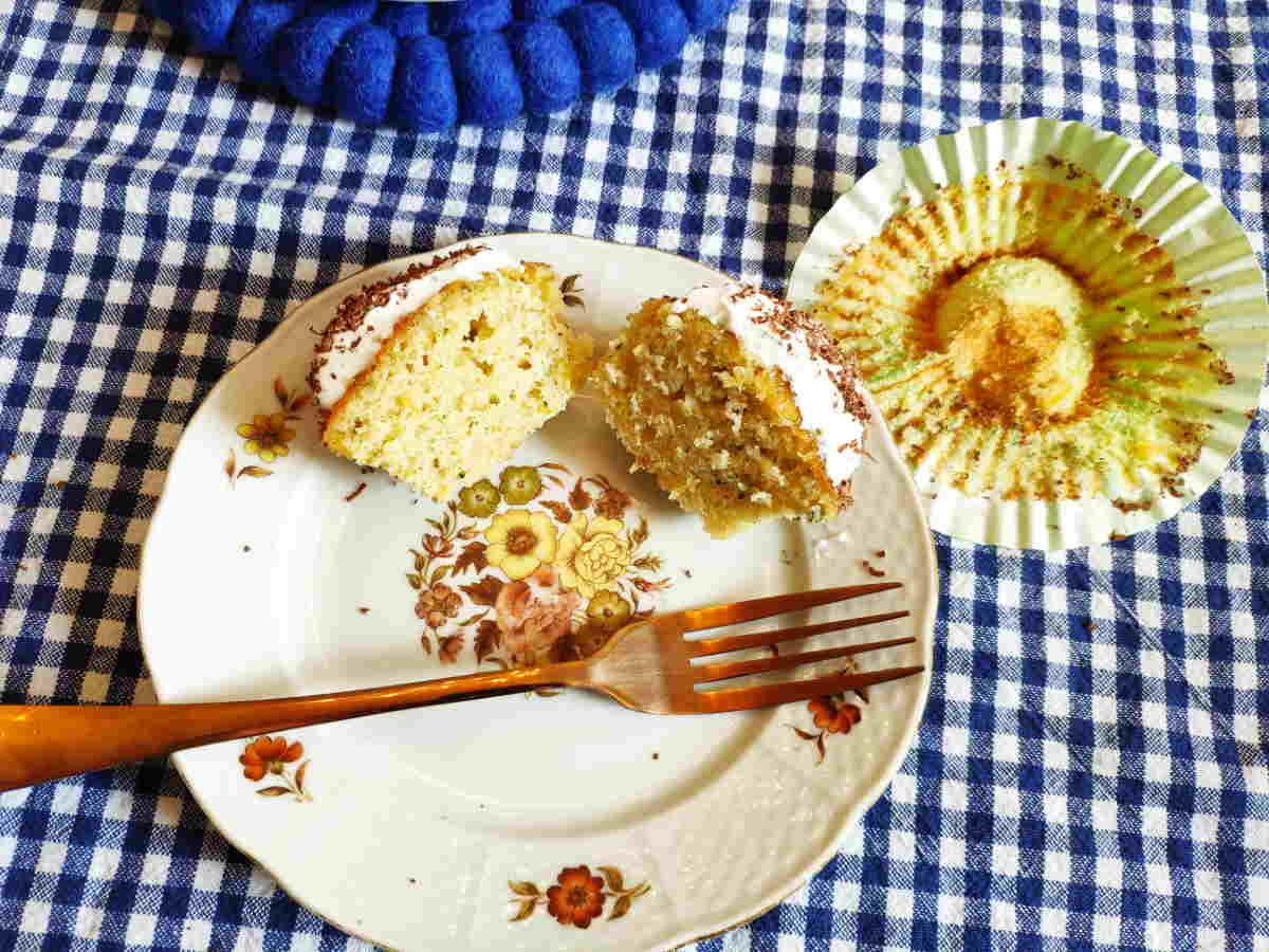 Citrus courgette cupcake cut in half