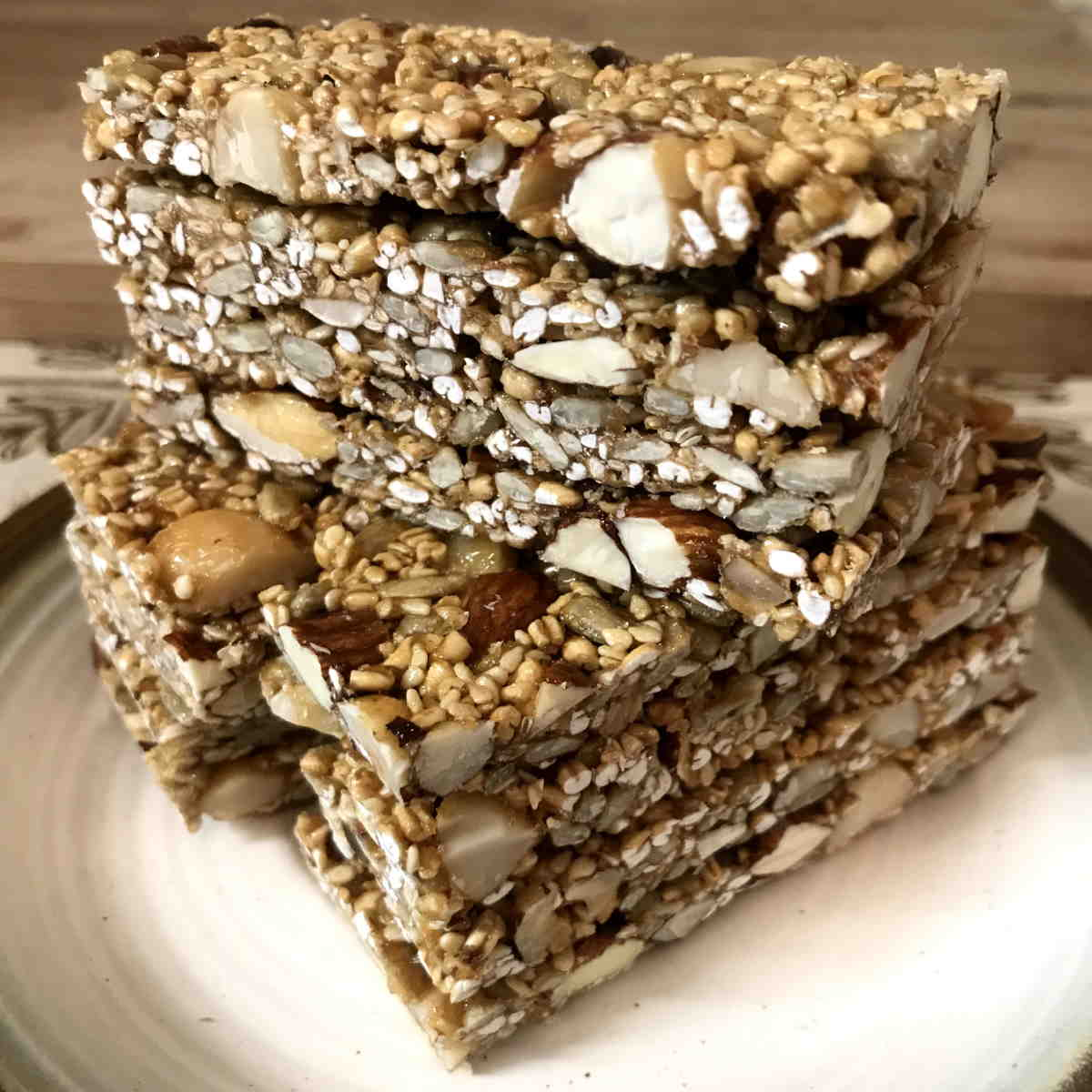 Triple Stack of Caramel Nut Crunch Bars
