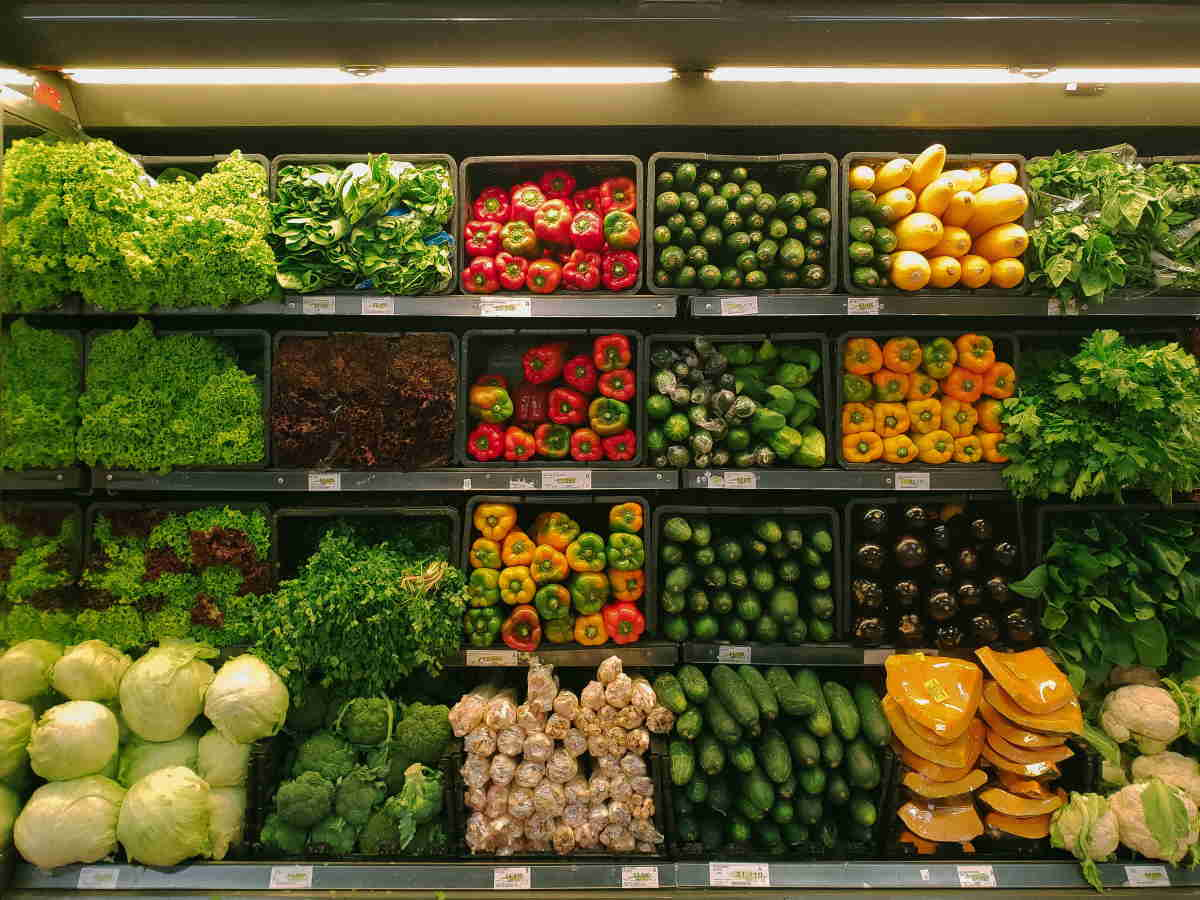 Grocery store vegetable section
