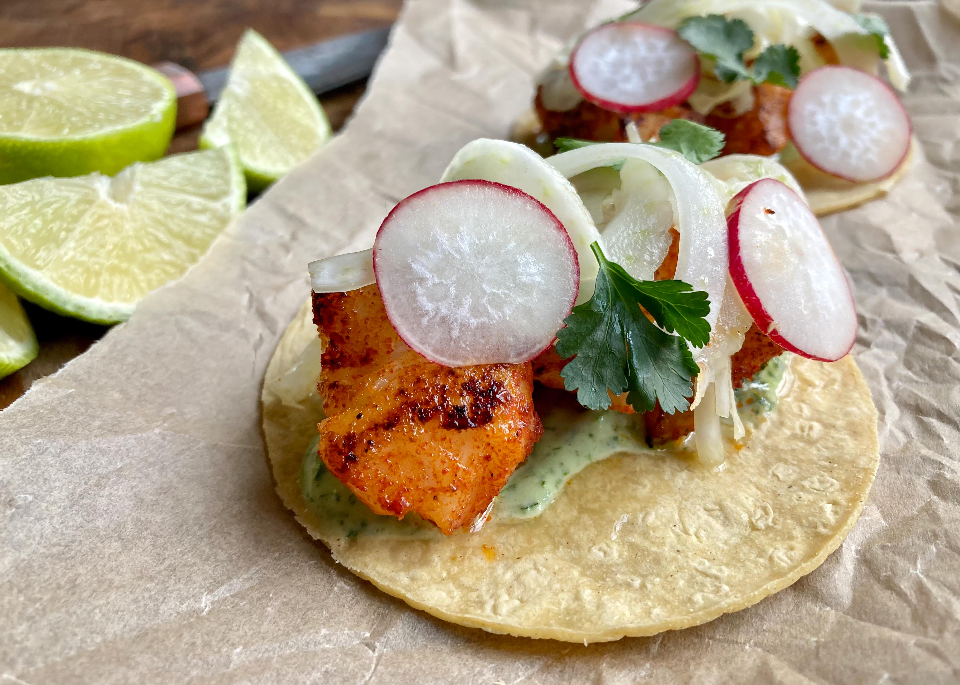 Fish tacos with lime & coriander mayo